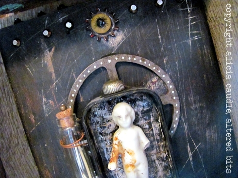 frozen charlotte, assemblage, mixed media, taxidermy eye, animal teeth, alicia caudle, art